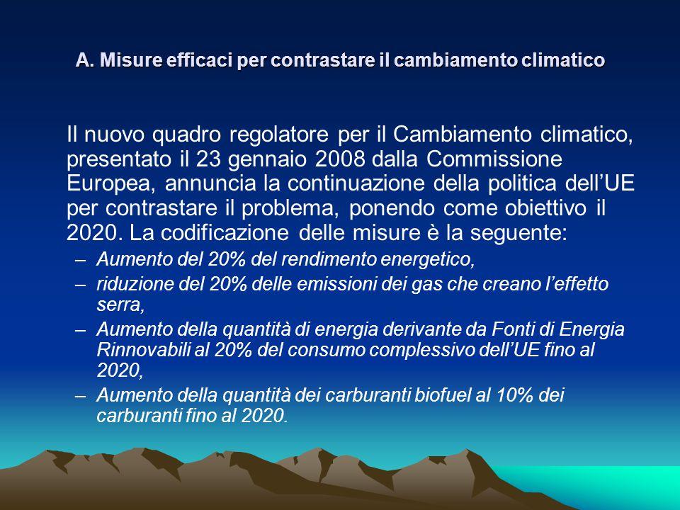 Α. Misure efficaci per contrastare il cambiamento climatico Il nuovo quadro regolatore per il Cambiamento climatico, presentato il 23 gennaio 2008 dal