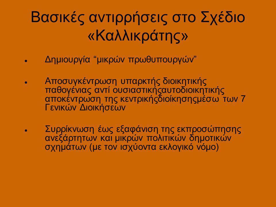 Βασικές αντιρρήσεις στο Σχέδιο «Καλλικράτης»  Δημιουργία μικρών πρωθυπουργών  Αποσυγκέντρωση υπαρκτής διοικητικής παθογένιας αντί ουσιαστικήςαυτοδιοικητικής αποκέντρωση της κεντρικήςδιοίκησηςμέσω των 7 Γενικών Διοικήσεων  Συρρίκνωση έως εξαφάνιση της εκπροσώπησης ανεξάρτητων και μικρών πολιτικών δημοτικών σχημάτων (με τον ισχύοντα εκλογικό νόμο)