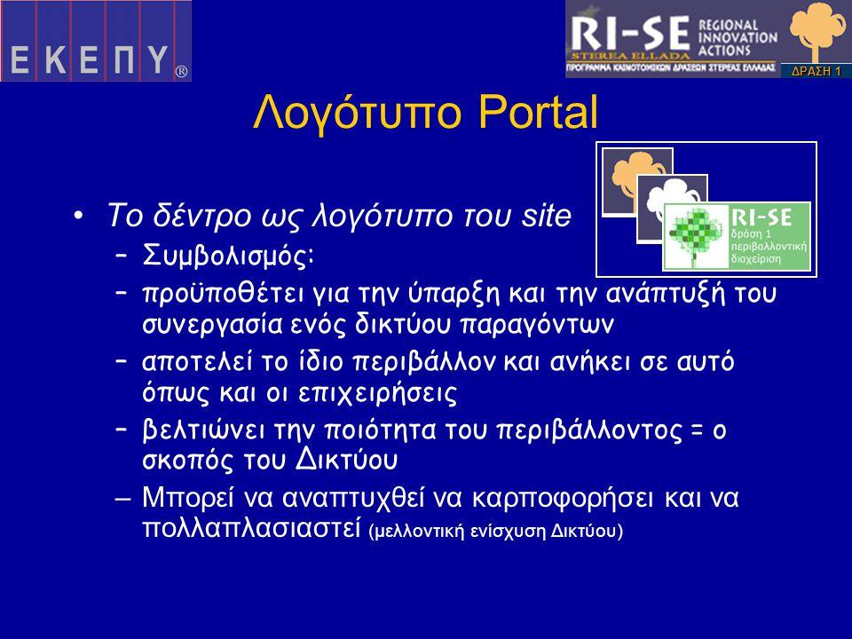 Λογότυπο Portal •Το δέντρο ως λογότυπο του site –Συμβολισμός: –προϋποθέτει για την ύπαρξη και την ανάπτυξή του συνεργασία ενός δικτύου παραγόντων –αποτελεί το ίδιο περιβάλλον και ανήκει σε αυτό όπως και οι επιχειρήσεις –βελτιώνει την ποιότητα του περιβάλλοντος = ο σκοπός του Δικτύου –Μπορεί να αναπτυχθεί να καρποφορήσει και να πολλαπλασιαστεί (μελλοντική ενίσχυση Δικτύου) ΔΡΑΣΗ 1