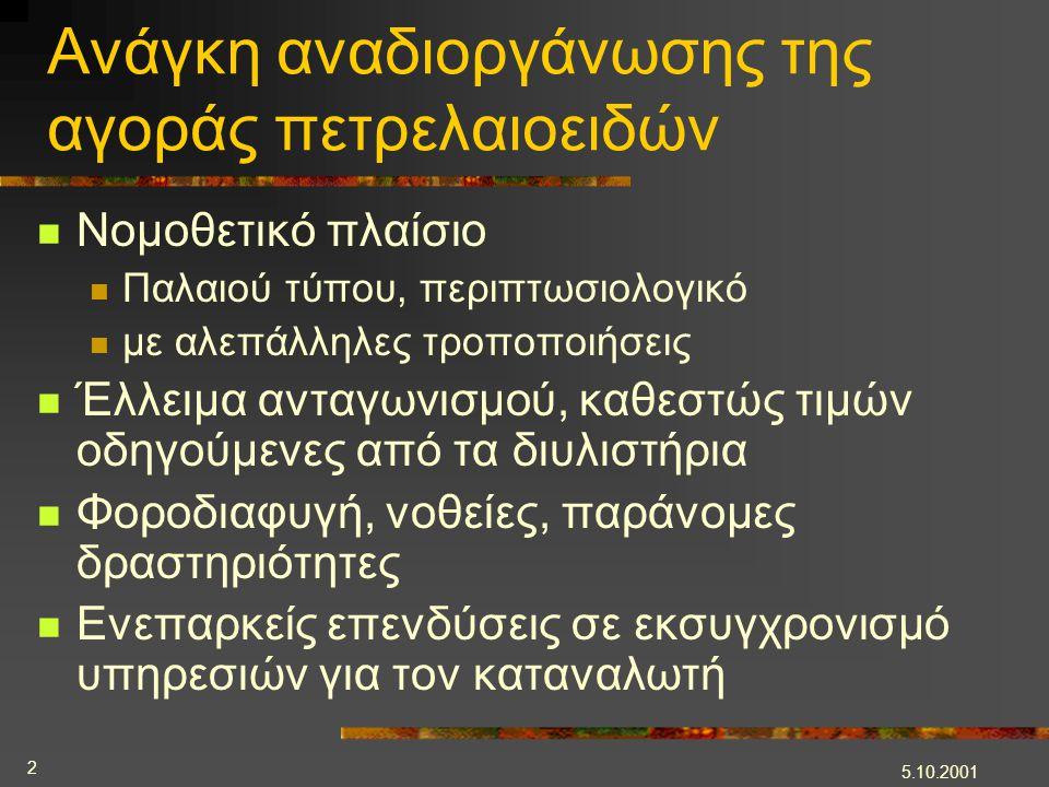 5.10.2001 2 Ανάγκη αναδιοργάνωσης της αγοράς πετρελαιοειδών  Νομοθετικό πλαίσιο  Παλαιού τύπου, περιπτωσιολογικό  με αλεπάλληλες τροποποιήσεις  Έλ