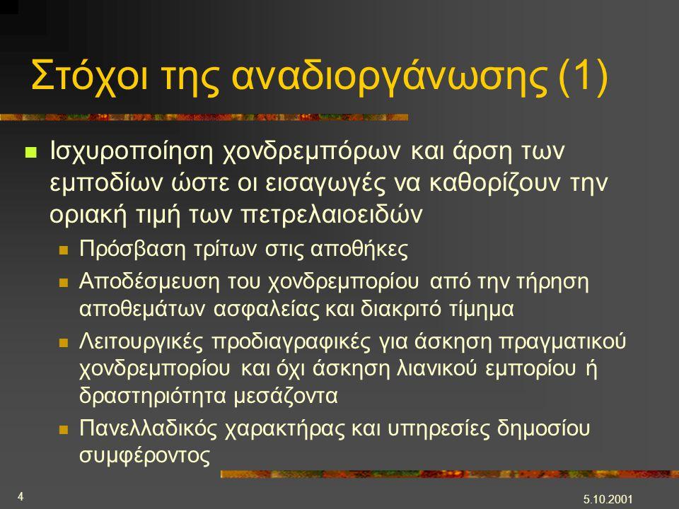 5.10.2001 4 Στόχοι της αναδιοργάνωσης (1)  Ισχυροποίηση χονδρεμπόρων και άρση των εμποδίων ώστε οι εισαγωγές να καθορίζουν την οριακή τιμή των πετρελ