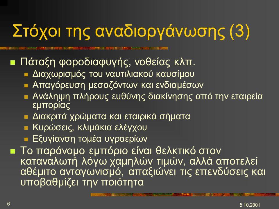 5.10.2001 6 Στόχοι της αναδιοργάνωσης (3)  Πάταξη φοροδιαφυγής, νοθείας κλπ.  Διαχωρισμός του ναυτιλιακού καυσίμου  Απαγόρευση μεσαζόντων και ενδια