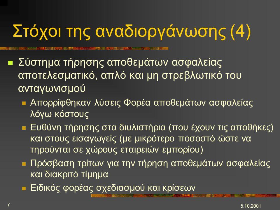 5.10.2001 7 Στόχοι της αναδιοργάνωσης (4)  Σύστημα τήρησης αποθεμάτων ασφαλείας αποτελεσματικό, απλό και μη στρεβλωτικό του ανταγωνισμού  Απορρίφθηκ