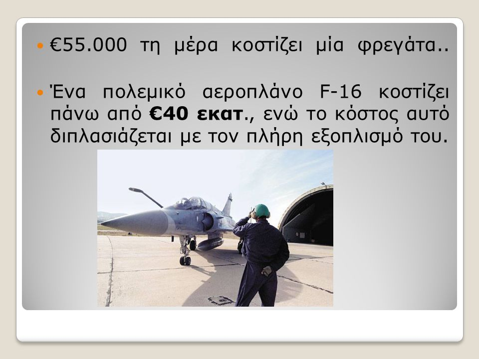  €55.000 τη μέρα κοστίζει μία φρεγάτα..  Ένα πολεμικό αεροπλάνο F-16 κοστίζει πάνω από €40 εκατ., ενώ το κόστος αυτό διπλασιάζεται με τον πλήρη εξοπ