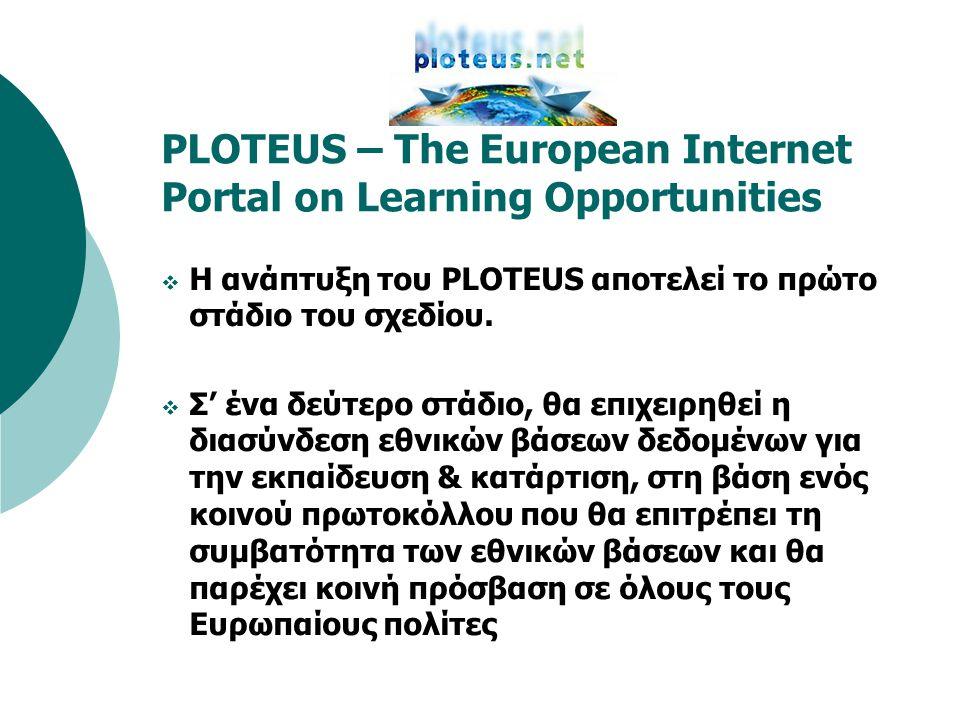 PLOTEUS – The European Internet Portal on Learning Opportunities  Η ανάπτυξη του PLOTEUS αποτελεί το πρώτο στάδιο του σχεδίου.  Σ' ένα δεύτερο στάδι