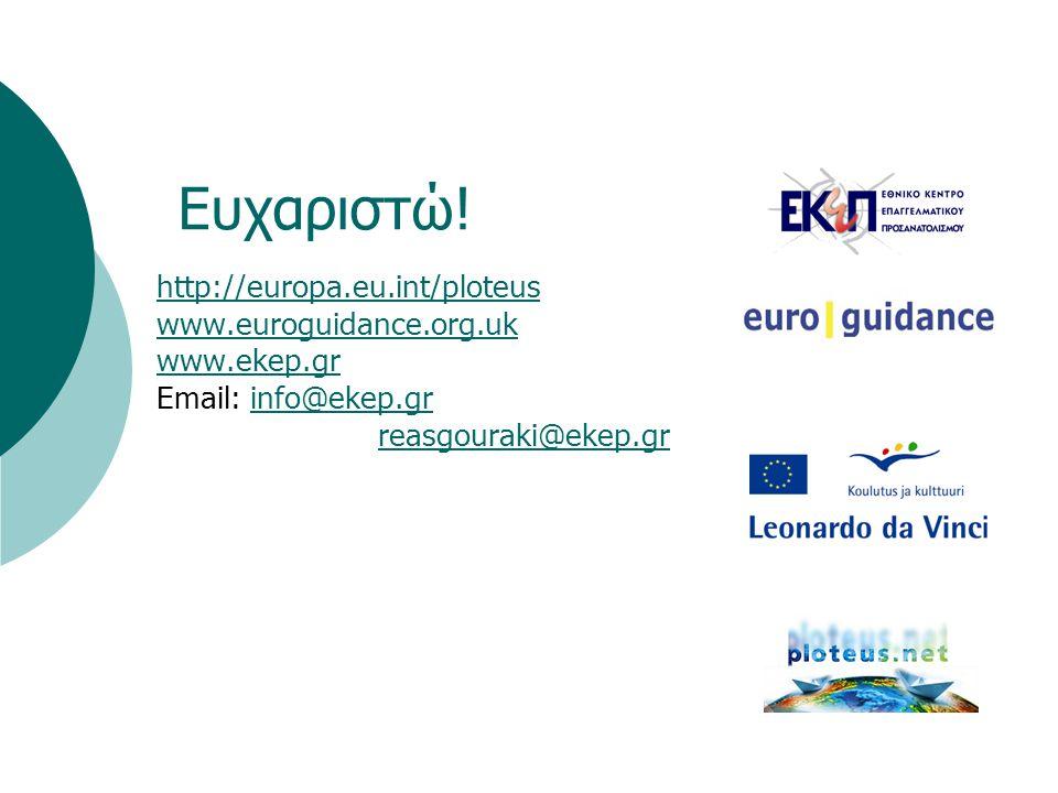 Eυχαριστώ! http://europa.eu.int/ploteus www.euroguidance.org.uk www.ekep.gr Email: info@ekep.grinfo@ekep.gr reasgouraki@ekep.gr