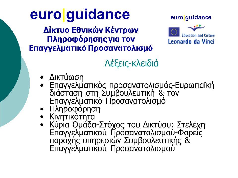 euro|guidance Λέξεις-κλειδιά •Δικτύωση •Επαγγελματικός προσανατολισμός-Ευρωπαϊκή διάσταση στη Συμβουλευτική & τον Επαγγελματικό Προσανατολισμό •Πληροφόρηση •Κινητικότητα •Κύρια Ομάδα-Στόχος του Δικτύου: Στελέχη Επαγγελματικού Προσανατολισμού-Φορείς παροχής υπηρεσιών Συμβουλευτικής & Επαγγελματικού Προσανατολισμού euro|guidance Δίκτυο Εθνικών Κέντρων Πληροφόρησης για τον Επαγγελματικό Προσανατολισμό