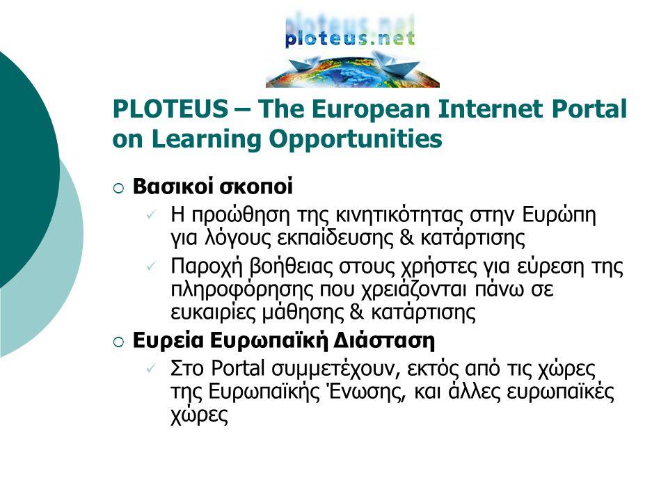 PLOTEUS – The European Internet Portal on Learning Opportunities  Πού απευθύνεται  Κατά κύριο λόγο σε όλους τους πολίτες της Ευρώπης  Κατά δεύτερο λόγο στους ειδικούς του Επαγγελματικού Προσανατολισμού, της Εκπαίδευσης, της Κατάρτισης & της Απασχόλησης ως ένα επιπλέον εργαλείο για την παροχή καλύτερων υπηρεσιών στους πελάτες τους  Περιεχόμενο  Το Portal PLOTEUS κατά κύριο λόγο παρέχει πρόσβαση σε υπάρχουσες πηγές πληροφόρησης (καταχώρηση links)  Κατά δεύτερο λόγο περιλαμβάνει στατική πληροφόρηση (π.χ.