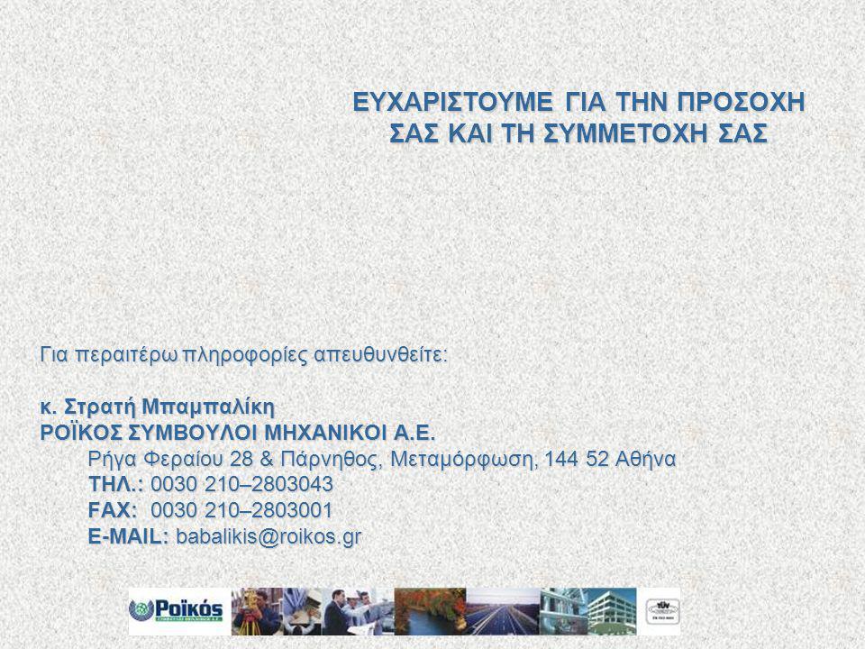 Για περαιτέρω πληροφορίες απευθυνθείτε: κ. Στρατή Μπαμπαλίκη ΡΟΪΚΟΣ ΣΥΜΒΟΥΛΟΙ ΜΗΧΑΝΙΚΟΙ Α.Ε. Ρήγα Φεραίου 28 & Πάρνηθος, Μεταμόρφωση, 144 52 Αθήνα ΤΗΛ