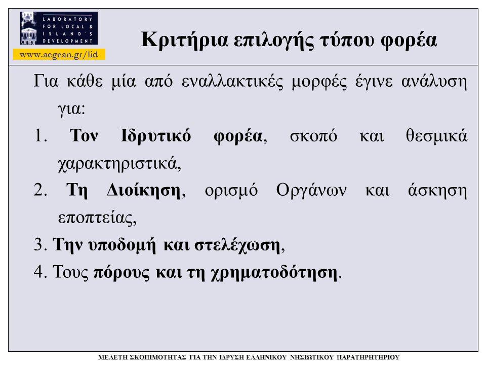 www.aegean.gr/lid ΜΕΛΕΤΗ ΣΚΟΠΙΜΟΤΗΤΑΣ ΓΙΑ ΤΗΝ ΙΔΡΥΣΗ ΕΛΛΗΝΙΚΟΥ ΝΗΣΙΩΤΙΚΟΥ ΠΑΡΑΤΗΡΗΤΗΡΙΟΥ Κριτήρια επιλογής τύπου φορέα Για κάθε μία από εναλλακτικές μορφές έγινε ανάλυση για: 1.