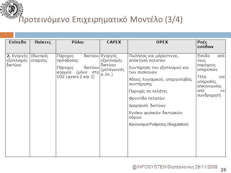 26 @INFOSYSTEM Θεσσαλονίκη 28/11/2009 Προτεινόμενο Επιχειρηματικό Μοντέλο (3/4) ΕπίπεδοΠαίκτεςΡόλοιCAPEXOPEXΡοές εσόδων 2.
