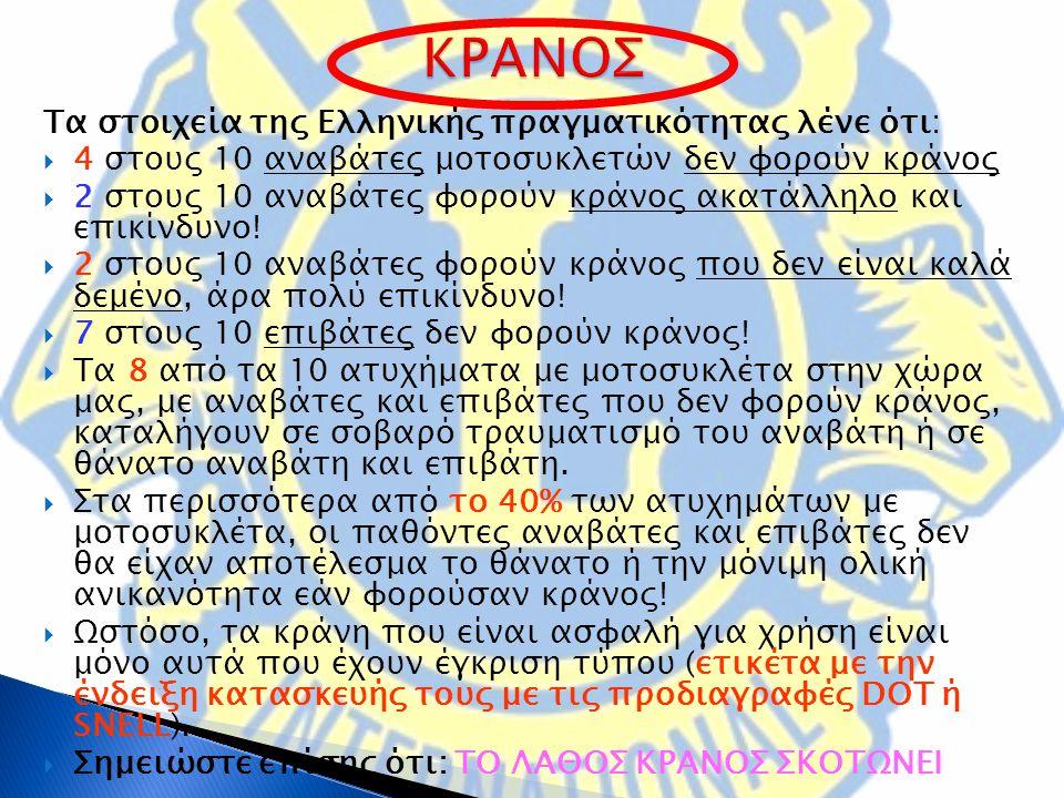 Τα στοιχεία της Ελληνικής πραγματικότητας λένε ότι:  4 στους 10 αναβάτες μοτοσυκλετών δεν φορούν κράνος  2 στους 10 αναβάτες φορούν κράνος ακατάλληλο και επικίνδυνο.