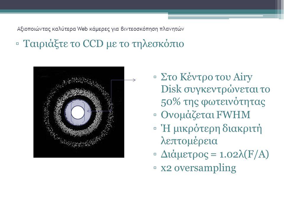 Αξιοποιώντας καλύτερα Web κάμερες για βιντεοσκόπηση πλανητών ▫Ταιριάξτε το CCD με το τηλεσκόπιο ▫Στο Κέντρο του Airy Disk συγκεντρώνεται το 50% της φωτεινότητας ▫Ονομάζεται FWHM ▫Ή μικρότερη διακριτή λεπτομέρεια ▫Διάμετρος = 1.02λ(F/A) ▫x2 oversampling