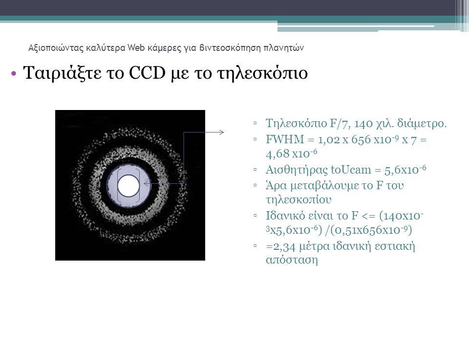 Αξιοποιώντας καλύτερα Web κάμερες για βιντεοσκόπηση πλανητών •Ταιριάξτε το CCD με το τηλεσκόπιο ▫Τηλεσκόπιο F/7, 140 χιλ.