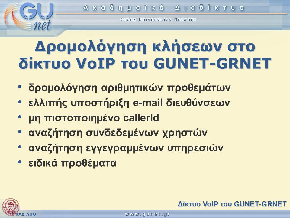 ΚΛΔ ΑΠΘ Δρομολόγηση κλήσεων στο δίκτυο VoIP του GUNET-GRNET • δρομολόγηση αριθμητικών προθεμάτων • ελλιπής υποστήριξη e-mail διευθύνσεων • μη πιστοποι