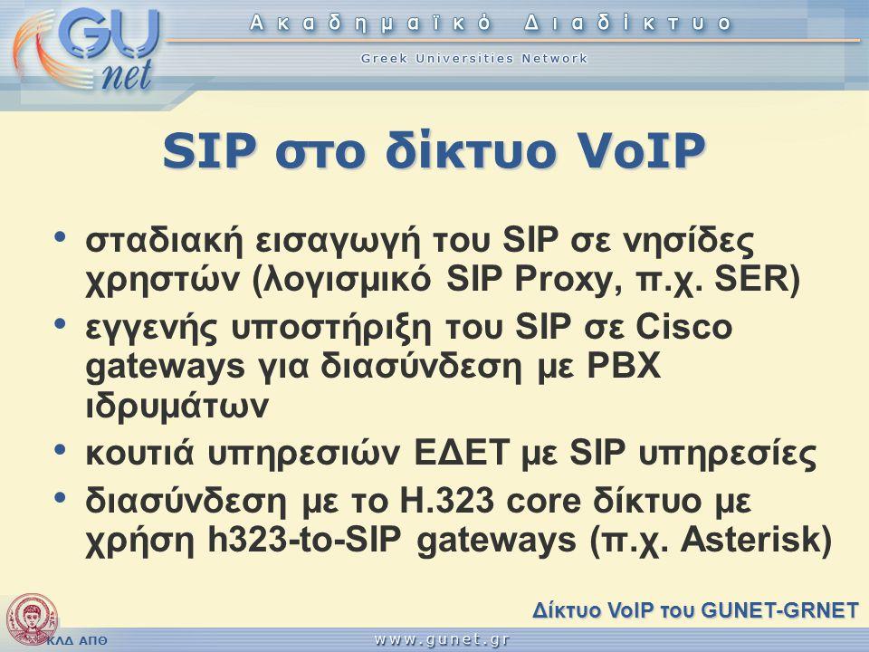 ΚΛΔ ΑΠΘ SIP στο δίκτυο VoIP • σταδιακή εισαγωγή του SIP σε νησίδες χρηστών (λογισμικό SIP Proxy, π.χ. SER) • εγγενής υποστήριξη του SIP σε Cisco gatew