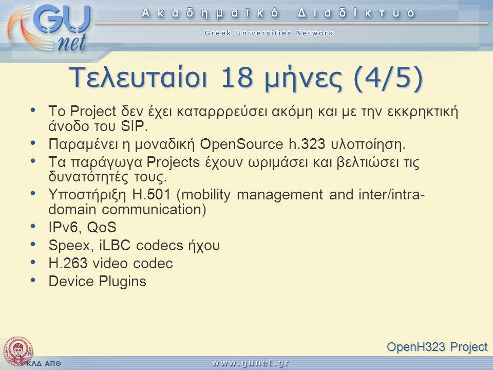 ΚΛΔ ΑΠΘ Τελευταίοι 18 μήνες (4/5) OpenH323 Project • Το Project δεν έχει καταρρρεύσει ακόμη και με την εκκρηκτική άνοδο του SIP. • Παραμένει η μοναδικ