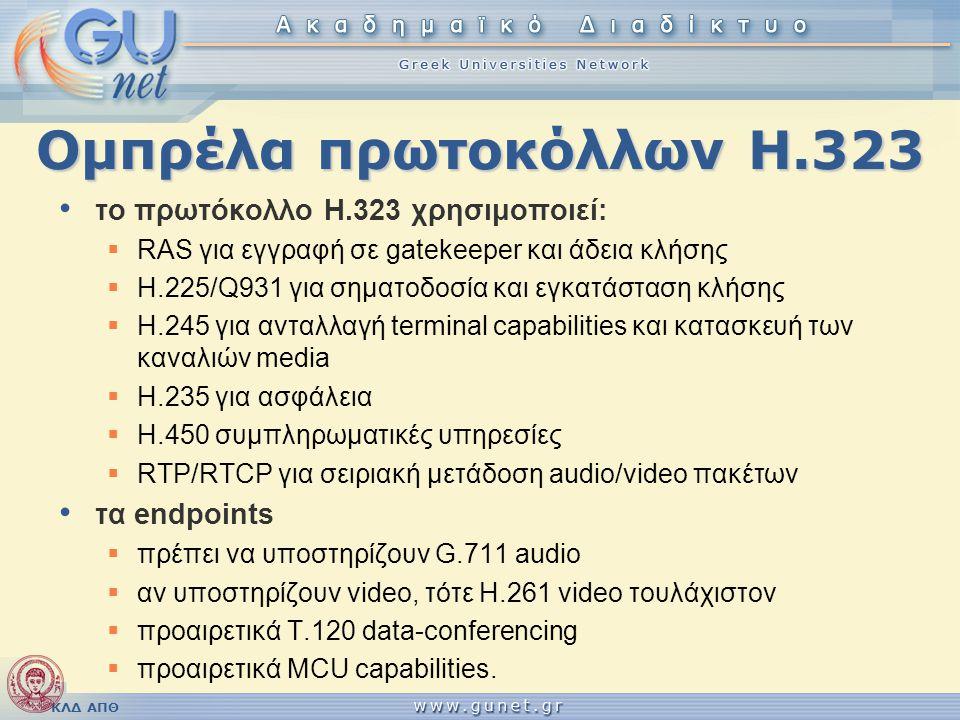 ΚΛΔ ΑΠΘ Ομπρέλα πρωτοκόλλων Η.323 • το πρωτόκολλο H.323 χρησιμοποιεί:  RAS για εγγραφή σε gatekeeper και άδεια κλήσης  H.225/Q931 για σηματοδοσία κα