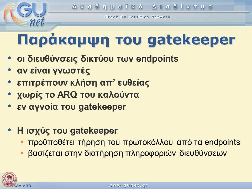 ΚΛΔ ΑΠΘ Παράκαμψη του gatekeeper • οι διευθύνσεις δικτύου των endpoints • αν είναι γνωστές • επιτρέπουν κλήση απ' ευθείας • χωρίς το ARQ του καλούντα