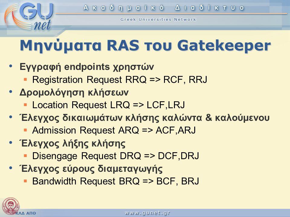 ΚΛΔ ΑΠΘ Μηνύματα RAS του Gatekeeper • Εγγραφή endpoints χρηστών  Registration Request RRQ => RCF, RRJ • Δρομολόγηση κλήσεων  Location Request LRQ =>