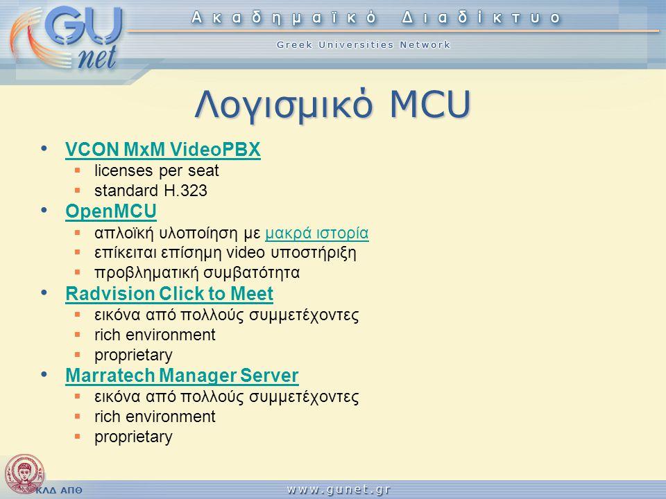 ΚΛΔ ΑΠΘ Λογισμικό MCU • VCON MxM VideoPBX VCON MxM VideoPBX  licenses per seat  standard Η.323 • OpenMCU OpenMCU  απλοϊκή υλοποίηση με μακρά ιστορί
