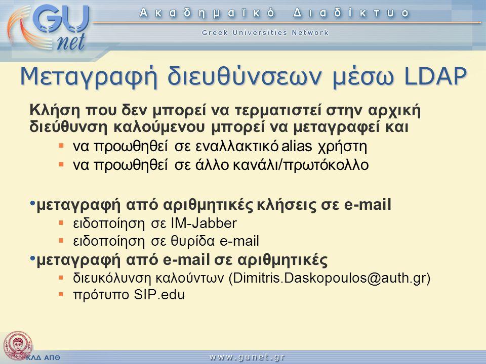 ΚΛΔ ΑΠΘ Μεταγραφή διευθύνσεων μέσω LDAP Κλήση που δεν μπορεί να τερματιστεί στην αρχική διεύθυνση καλούμενου μπορεί να μεταγραφεί και  να προωθηθεί σ