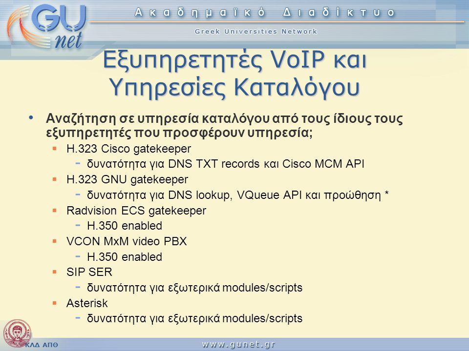 ΚΛΔ ΑΠΘ Εξυπηρετητές VoIP και Υπηρεσίες Καταλόγου • Αναζήτηση σε υπηρεσία καταλόγου από τους ίδιους τους εξυπηρετητές που προσφέρουν υπηρεσία;  H.323