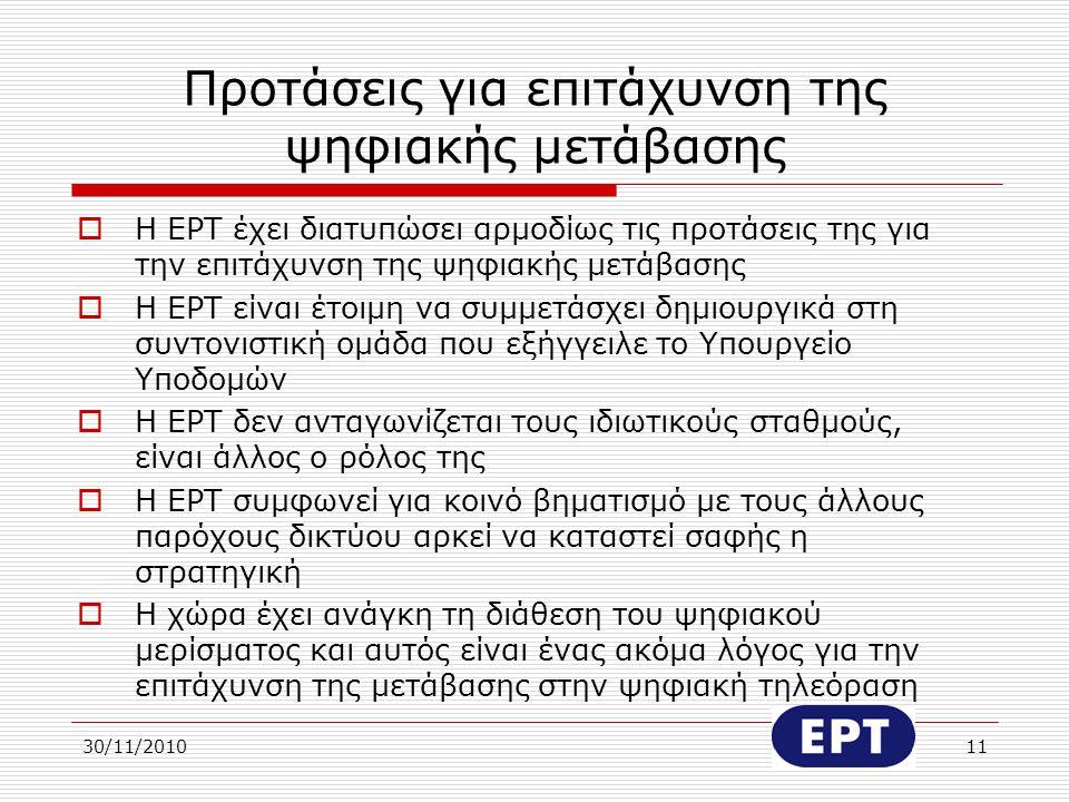 30/11/201011 Προτάσεις για επιτάχυνση της ψηφιακής μετάβασης  Η ΕΡΤ έχει διατυπώσει αρμοδίως τις προτάσεις της για την επιτάχυνση της ψηφιακής μετάβα