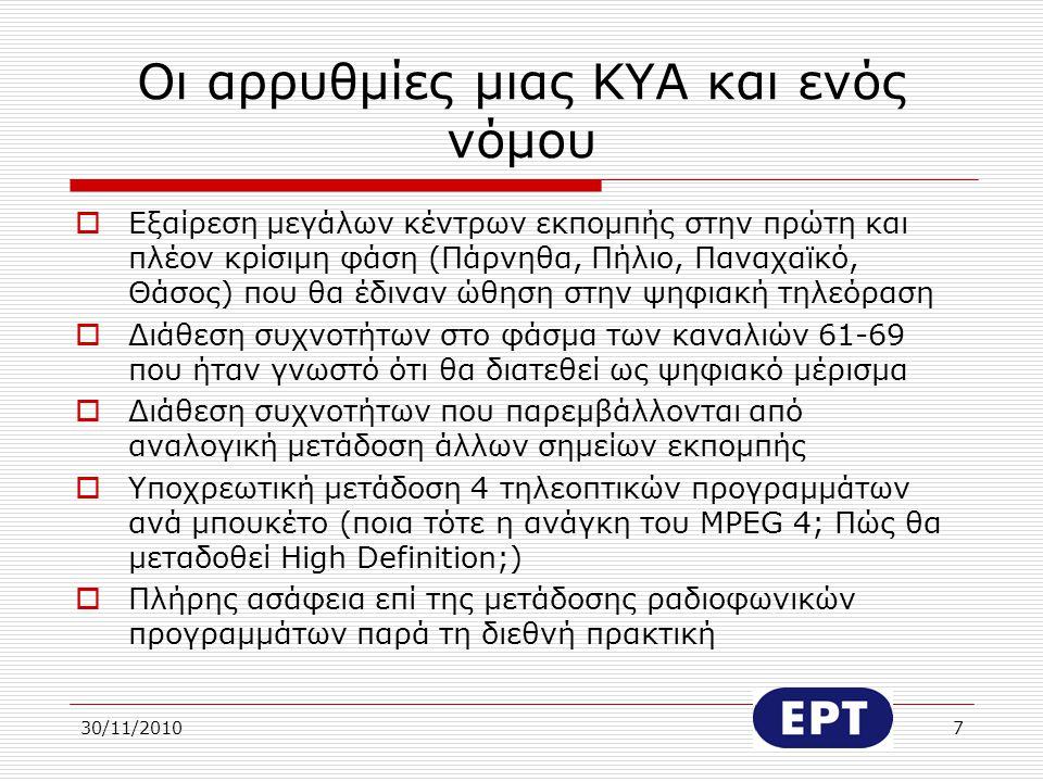 30/11/20108 Το κόστος της μετάβασης στην ψηφιακή τηλεόραση (1) Α και Β φάση Εκτιμάται ότι θα απαιτηθούν 160 περίπου σημεία εκπομπής για μια κάλυψη 90% του πληθυσμού  Προσεγγιστικό κόστος πομπών για 2 μπουκέτα: 16 εκατομμύρια €  Τύπος εφεδρείας: Διπλός exciter με αυτόματη μεταγωγή  Σε περίπτωση εφεδρείας n+1 πομπών το κόστος αυξάνεται
