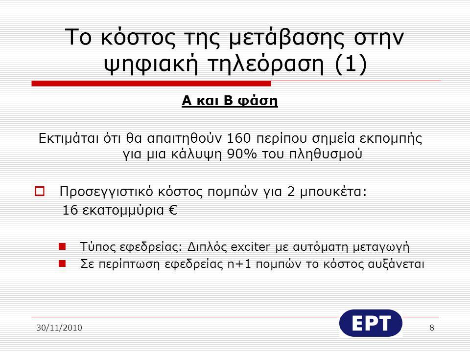 30/11/20109 Το κόστος της μετάβασης στην ψηφιακή τηλεόραση (2) Α και Β φάση  Ετήσιο προσεγγιστικό κόστος δορυφορικής μεταφοράς δύο μπουκέτων στα κέντρα εκπομπής 1.200.000 €  Ετήσιο κόστος μεταφοράς δύο μπουκέτων σε 30 βασικά σημεία εκπομπής με κυκλώματα (για λόγους εφεδρείας): 1,5 εκατομμύριο €  Το συμπληρωματικό κόστος για την κάλυψη του υπόλοιπου πληθυσμού (πομποί ή δορυφορικές λήψεις ή κεντρική δορυφορική λήψη και καλωδιακή διανομή) δεν μπορεί να υπολογιστεί σήμερα