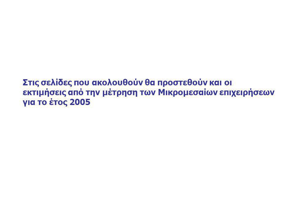 Στις σελίδες που ακολουθούν θα προστεθούν και οι εκτιμήσεις από την μέτρηση των Μικρομεσαίων επιχειρήσεων για το έτος 2005