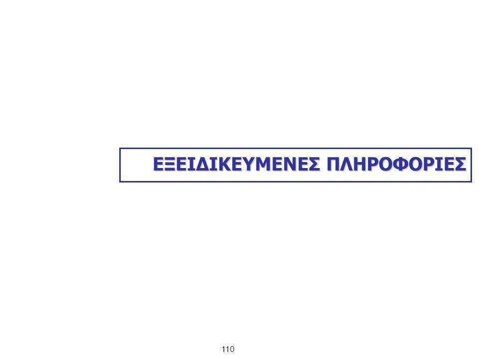 ΕΞΕΙΔΙΚΕΥΜΕΝΕΣ ΠΛΗΡΟΦΟΡΙΕΣ 110