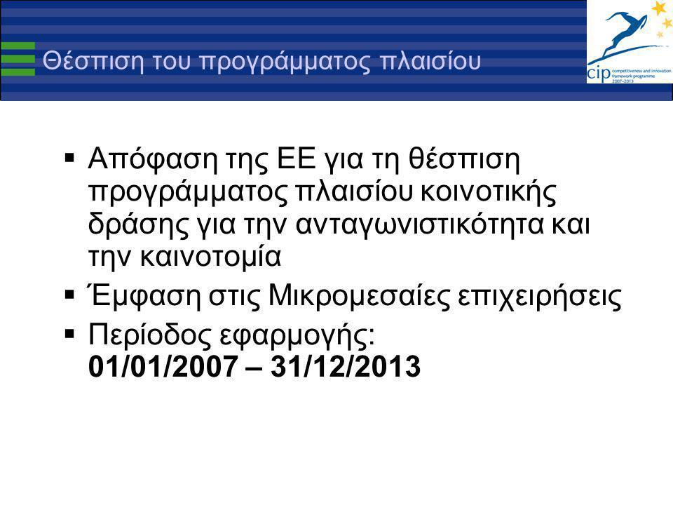 Θέσπιση του προγράμματος πλαισίου  Απόφαση της ΕΕ για τη θέσπιση προγράμματος πλαισίου κοινοτικής δράσης για την ανταγωνιστικότητα και την καινοτομία  Έμφαση στις Μικρομεσαίες επιχειρήσεις  Περίοδος εφαρμογής: 01/01/2007 – 31/12/2013