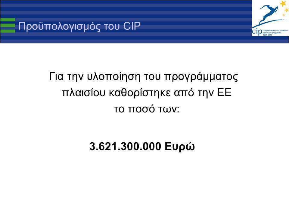 Προϋπολογισμός του CIP Για την υλοποίηση του προγράμματος πλαισίου καθορίστηκε από την ΕΕ το ποσό των: 3.621.300.000 Ευρώ