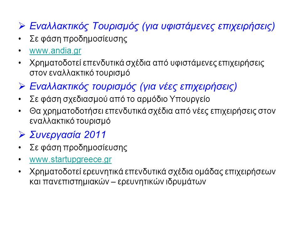  Εναλλακτικός Τουρισμός (για υφιστάμενες επιχειρήσεις) •Σε φάση προδημοσίευσης •www.andia.grwww.andia.gr •Χρηματοδοτεί επενδυτικά σχέδια από υφιστάμενες επιχειρήσεις στον εναλλακτικό τουρισμό  Εναλλακτικός τουρισμός (για νέες επιχειρήσεις) •Σε φάση σχεδιασμού από το αρμόδιο Υπουργείο •Θα χρηματοδοτήσει επενδυτικά σχέδια από νέες επιχειρήσεις στον εναλλακτικό τουρισμό  Συνεργασία 2011 •Σε φάση προδημοσίευσης •www.startupgreece.grwww.startupgreece.gr •Χρηματοδοτεί ερευνητικά επενδυτικά σχέδια ομάδας επιχειρήσεων και πανεπιστημιακών – ερευνητικών ιδρυμάτων