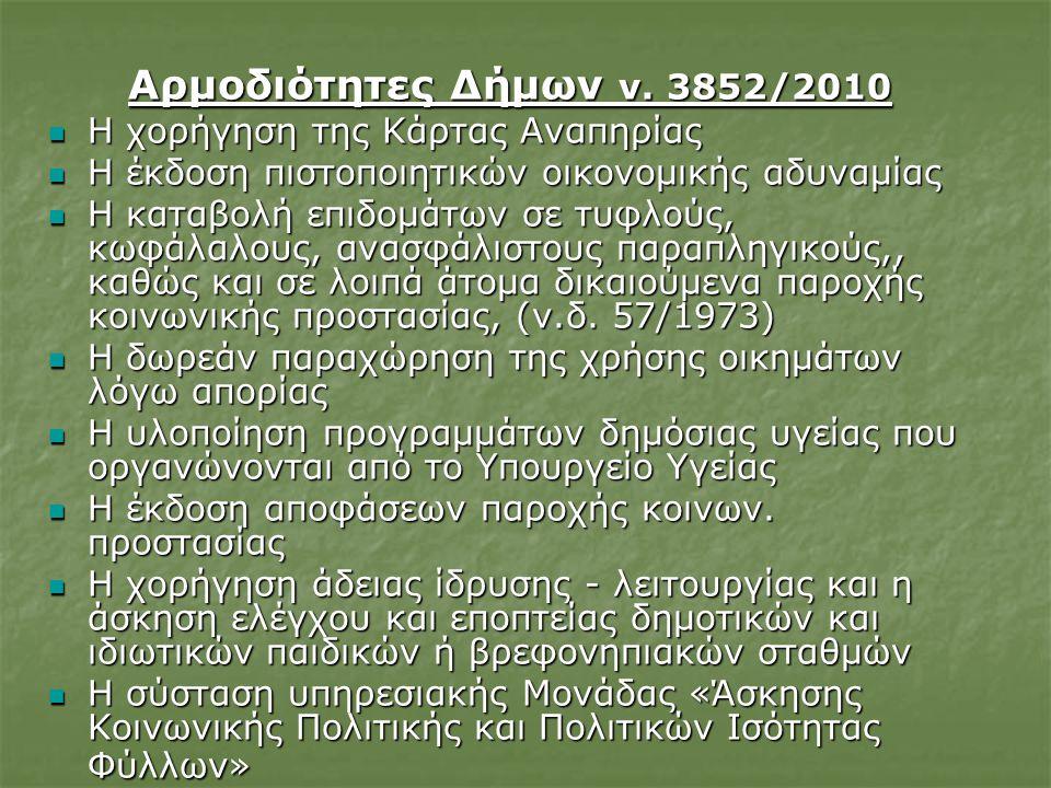 Αρμοδιότητες Δήμων ν.