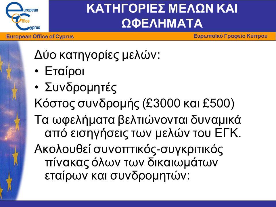 ΚΑΤΗΓΟΡΙΕΣ ΜΕΛΩΝ ΚΑΙ ΩΦΕΛΗΜΑΤΑ Δύο κατηγορίες μελών: •Εταίροι •Συνδρομητές Κόστος συνδρομής (£3000 και £500) Τα ωφελήματα βελτιώνονται δυναμικά από εισηγήσεις των μελών του ΕΓΚ.