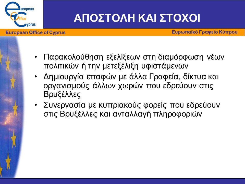 ΑΠΟΣΤΟΛΗ ΚΑΙ ΣΤΟΧΟΙ •Παρακολούθηση εξελίξεων στη διαμόρφωση νέων πολιτικών ή την μετεξέλιξη υφιστάμενων •Δημιουργία επαφών με άλλα Γραφεία, δίκτυα και οργανισμούς άλλων χωρών που εδρεύουν στις Βρυξέλλες •Συνεργασία με κυπριακούς φορείς που εδρεύουν στις Βρυξέλλες και ανταλλαγή πληροφοριών