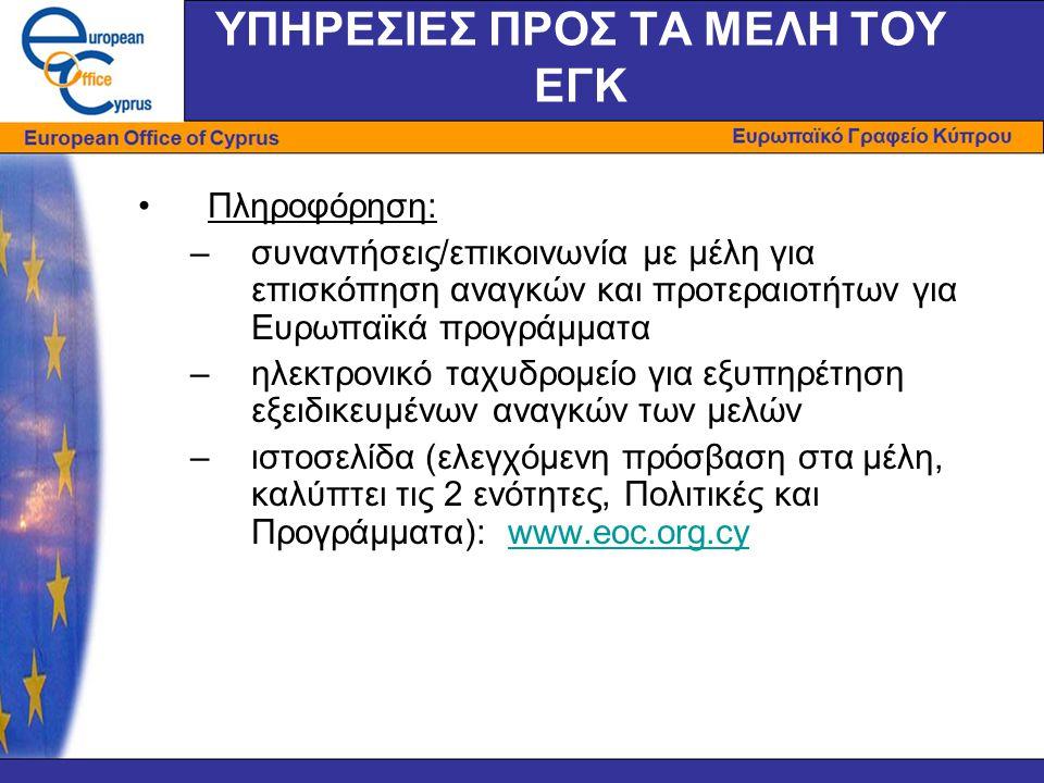 ΥΠΗΡΕΣΙΕΣ ΠΡΟΣ ΤΑ ΜΕΛΗ ΤΟΥ ΕΓΚ •Πληροφόρηση: –συναντήσεις/επικοινωνία με μέλη για επισκόπηση αναγκών και προτεραιοτήτων για Ευρωπαϊκά προγράμματα –ηλεκτρονικό ταχυδρομείο για εξυπηρέτηση εξειδικευμένων αναγκών των μελών –ιστοσελίδα (ελεγχόμενη πρόσβαση στα μέλη, καλύπτει τις 2 ενότητες, Πολιτικές και Προγράμματα): www.eoc.org.cywww.eoc.org.cy