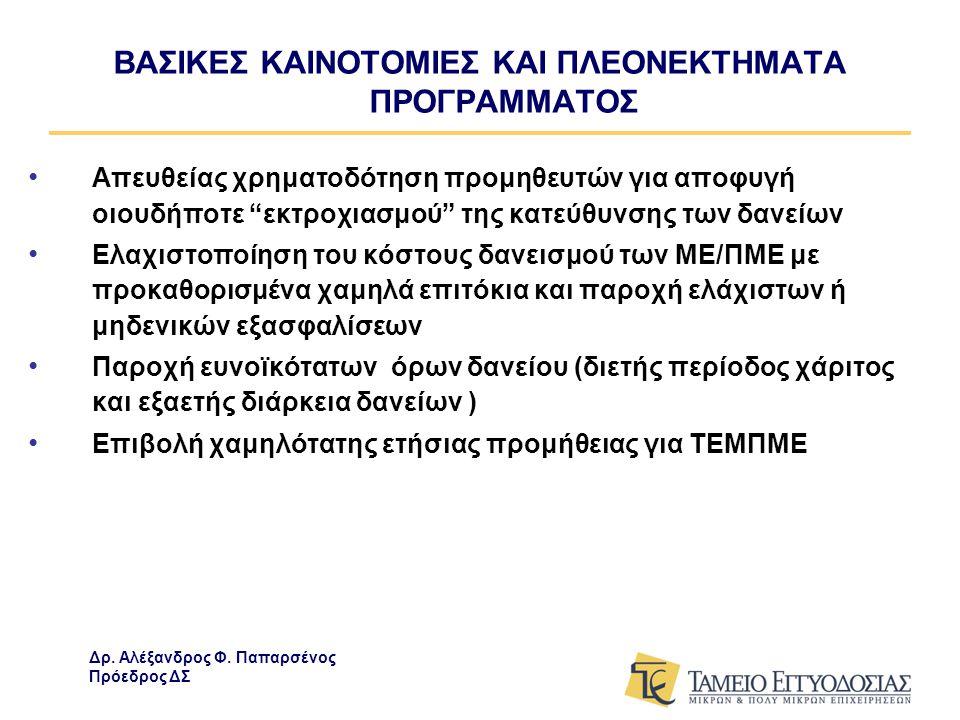 ΒΑΣΙΚΕΣ ΚΑΙΝΟΤΟΜΙΕΣ ΚΑΙ ΠΛΕΟΝΕΚΤΗΜΑΤΑ ΠΡΟΓΡΑΜΜΑΤΟΣ • Απευθείας χρηματοδότηση προμηθευτών για αποφυγή οιουδήποτε εκτροχιασμού της κατεύθυνσης των δανείων • Ελαχιστοποίηση του κόστους δανεισμού των ΜΕ/ΠΜΕ με προκαθορισμένα χαμηλά επιτόκια και παροχή ελάχιστων ή μηδενικών εξασφαλίσεων • Παροχή ευνοϊκότατων όρων δανείου (διετής περίοδος χάριτος και εξαετής διάρκεια δανείων ) • Επιβολή χαμηλότατης ετήσιας προμήθειας για ΤΕΜΠΜΕ Δρ.