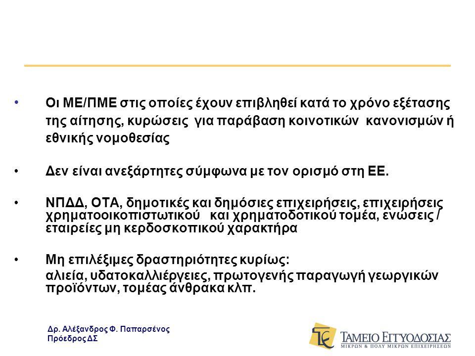 ΔΙΑΡΚΕΙΑ ΕΦΑΡΜΟΓΗΣ, Π/Υ ΕΠΙΛΕΞΙΜΕΣ ΜΟΡΦΕΣ ΔΑΝΕΙΩΝ ΚΑΙ ΠΟΣΟΣΤΟ ΕΓΓΥΗΣΗΣ •Διάρκεια εφαρμογής προγράμματος έως 31/12/2011 •Καταληκτική ημερομηνία υποβολής αίτησης στη Τράπεζα: 30/09/2011 •Αρχικός προϋπολογισμός 1δις € εγγυήσεις για κάλυψη 1,25 δις € δάνεια •Επιλέξιμες δαπάνες : αυτές που καλύπτονται από νόμιμα παραστατικά επί πιστώσει (τιμολόγια πώλησης με αντίστοιχα δελτία αποστολής, Δελτία Παροχής Υπηρεσιών και λοιπά νόμιμα παραστατικά) με ημερομηνία έκδοσης έως και 60 ημέρες πριν την ημερομηνία υποβολής αίτησης χρηματοδότησης στην Τράπεζα.