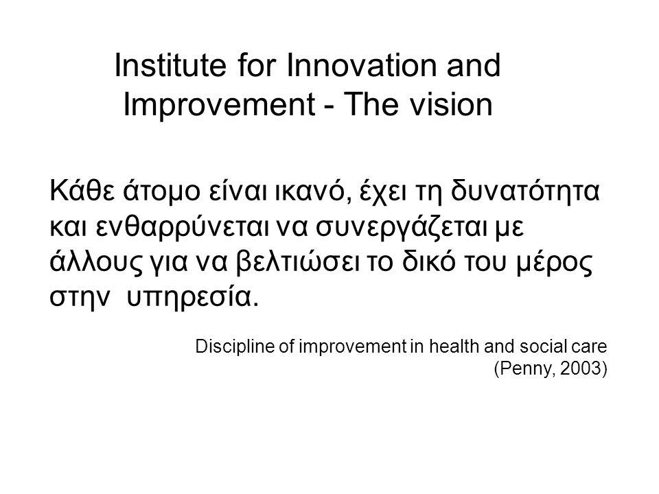 Institute for Innovation and Improvement - The vision Κάθε άτομο είναι ικανό, έχει τη δυνατότητα και ενθαρρύνεται να συνεργάζεται με άλλους για να βελ