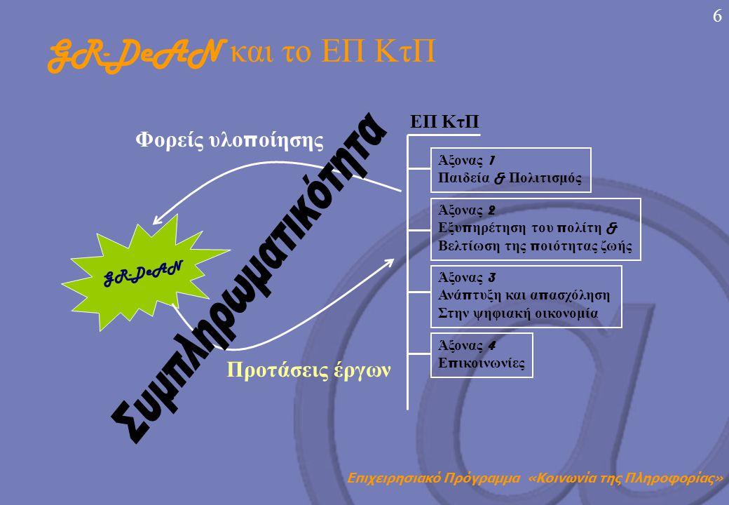 Επιχειρησιακό Πρόγραμμα «Κοινωνία της Πληροφορίας» 5   Δημιουργία του Εθνικού Δικτύου GR-DeAN (e- Accessibility.gr) στο π λαίσιο του Ευρω π αϊκού Δικτύου Κέντρων Αριστείας «European Design for All e- Accessibility Network» (EDeAN) με στόχο την π ροαγωγή του eEurope 2005 Action Plan στην Ελλάδα   Το εθνικό δίκτυο α π οτελεί μοναδική ευκαιρία για την δημιουργία ισχυρών δεσμών μεταξύ διαφόρων φορέων π ου ασχολούνται με την κοινωνικό - οικονομική ένταξη και ισότιμη συμμετοχή ΑμΕα στην ΚτΠ, καθώς και φορέων π ου εμ π λέκονται σε έργα του ΕΠ ΚτΠ   Η συμμετοχή των φορέων είναι βασική π ροϋ π όθεση για την υλο π οίηση των στόχων του GR-DeAN GR-DeAN (e-Accessibility.gr)