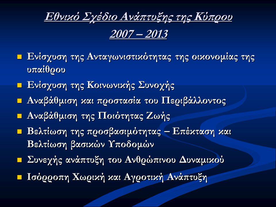 Εθνικό Σχέδιο Ανάπτυξης της Κύπρου 2007 – 2013  Ενίσχυση της Ανταγωνιστικότητας της οικονομίας της υπαίθρου  Ενίσχυση της Κοινωνικής Συνοχής  Αναβά
