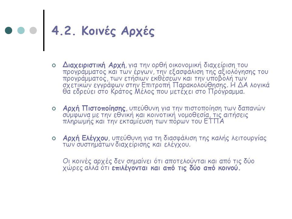 4.2. Κοινές Αρχές Διαχειριστική Αρχή, για την ορθή οικονομική διαχείριση του προγράμματος και των έργων, την εξασφάλιση της αξιολόγησης του προγράμματ