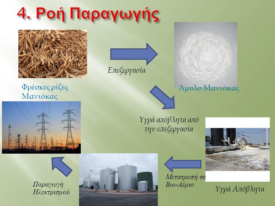 Φρέσκες ρίζες Μανιόκας Άμυλο Μανιόκας Υγρά Απόβλητα Επεξεργασία Μετατροπή σε Βιο-Αέριο Παραγωγή Ηλεκτρισμού Υγρά απόβλητα από την επεξεργασία