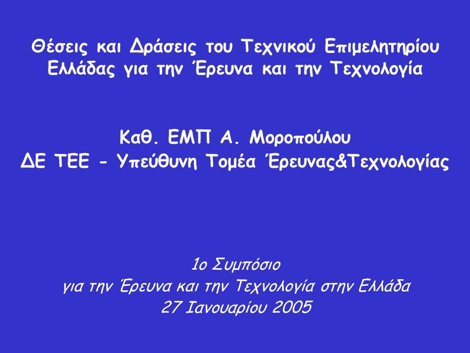 Θέσεις και Δράσεις του Τεχνικού Επιμελητηρίου Ελλάδας για την Έρευνα και την Τεχνολογία Καθ. ΕΜΠ Α. Μοροπούλου ΔΕ ΤΕΕ - Υπεύθυνη Τομέα Έρευνας&Τεχνολο