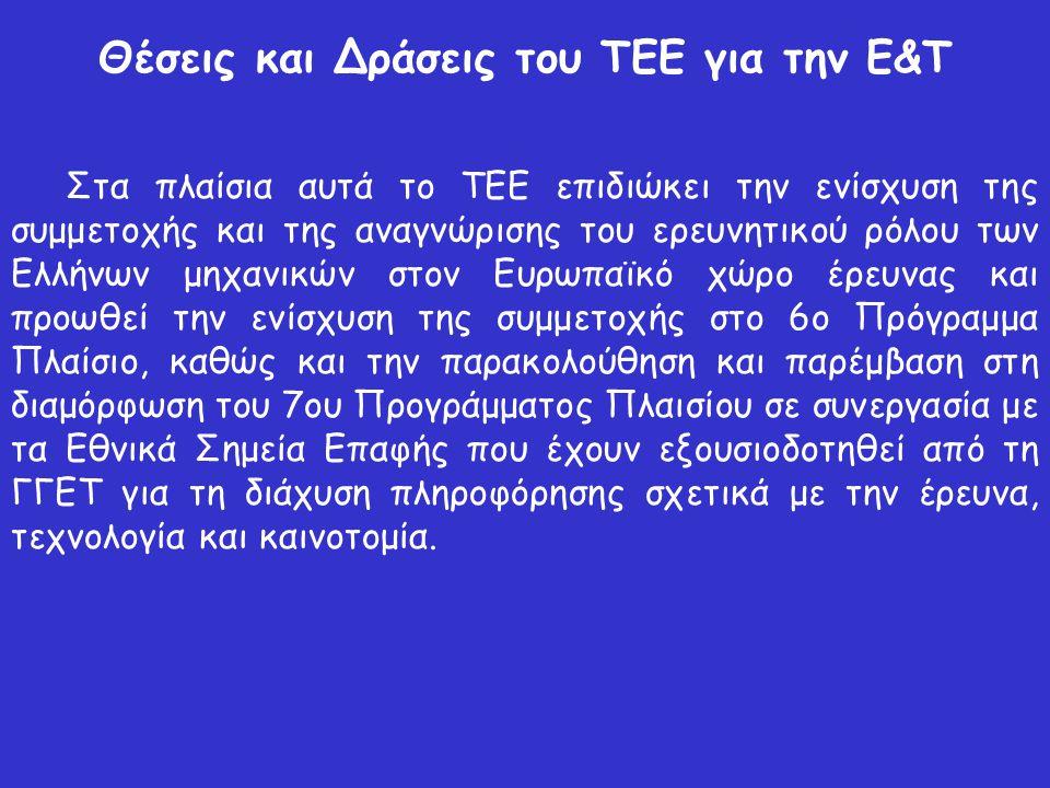 Θέσεις και Δράσεις του ΤΕΕ για την Ε&Τ Στα πλαίσια αυτά το ΤΕΕ επιδιώκει την ενίσχυση της συμμετοχής και της αναγνώρισης του ερευνητικού ρόλου των Ελλήνων μηχανικών στον Ευρωπαϊκό χώρο έρευνας και προωθεί την ενίσχυση της συμμετοχής στο 6ο Πρόγραμμα Πλαίσιο, καθώς και την παρακολούθηση και παρέμβαση στη διαμόρφωση του 7ου Προγράμματος Πλαισίου σε συνεργασία με τα Εθνικά Σημεία Επαφής που έχουν εξουσιοδοτηθεί από τη ΓΓΕΤ για τη διάχυση πληροφόρησης σχετικά με την έρευνα, τεχνολογία και καινοτομία.