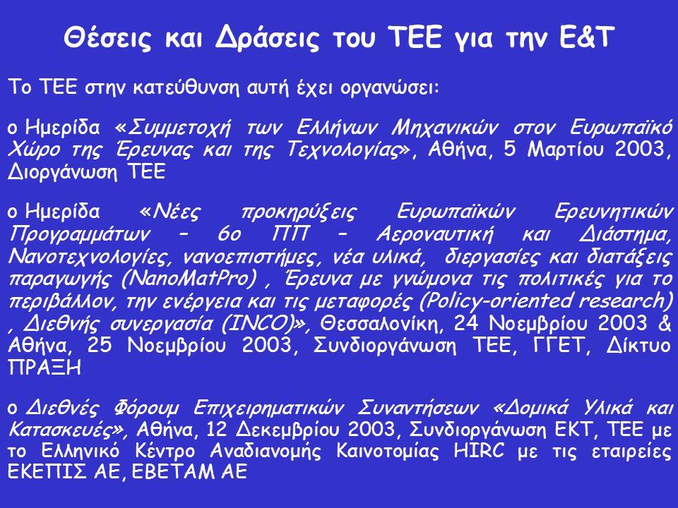 Θέσεις και Δράσεις του ΤΕΕ για την Ε&Τ Το ΤΕΕ στην κατεύθυνση αυτή έχει οργανώσει: o Ημερίδα «Συμμετοχή των Ελλήνων Μηχανικών στον Ευρωπαϊκό Χώρο της Έρευνας και της Τεχνολογίας», Αθήνα, 5 Μαρτίου 2003, Διοργάνωση ΤΕΕ o Ημερίδα «Νέες προκηρύξεις Ευρωπαϊκών Ερευνητικών Προγραμμάτων – 6ο ΠΠ – Αεροναυτική και Διάστημα, Νανοτεχνολογίες, νανοεπιστήμες, νέα υλικά, διεργασίες και διατάξεις παραγωγής (NanoMatPro), Έρευνα με γνώμονα τις πολιτικές για το περιβάλλον, την ενέργεια και τις μεταφορές (Policy-oriented research), Διεθνής συνεργασία (INCO)», Θεσσαλονίκη, 24 Νοεμβρίου 2003 & Αθήνα, 25 Νοεμβρίου 2003, Συνδιοργάνωση ΤΕΕ, ΓΓΕΤ, Δίκτυο ΠΡΑΞΗ o Διεθνές Φόρουμ Επιχειρηματικών Συναντήσεων «Δομικά Υλικά και Κατασκευές», Αθήνα, 12 Δεκεμβρίου 2003, Συνδιοργάνωση ΕΚΤ, ΤΕΕ με το Ελληνικό Κέντρο Αναδιανομής Καινοτομίας HIRC με τις εταιρείες ΕΚΕΠΙΣ AE, EBETAM AE