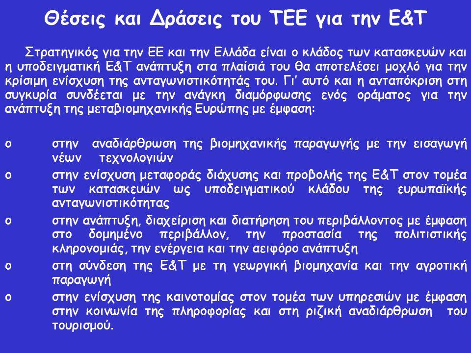 Θέσεις και Δράσεις του ΤΕΕ για την Ε&Τ Στρατηγικός για την ΕΕ και την Ελλάδα είναι ο κλάδος των κατασκευών και η υποδειγματική Ε&Τ ανάπτυξη στα πλαίσι